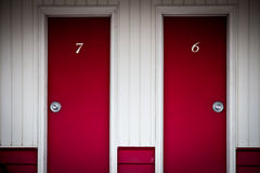 Red doors. Two red door corresponding to two rooms at a roadside motel Stock Photography