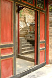 Red Doorway and Stone Stairs, Beijing Stock Images