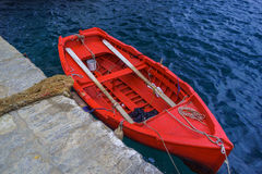 Red dory, blue Agean. Royalty Free Stock Photo