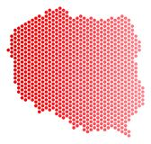 Red Dot Poland Map. Red circle dot Poland map. Geographic plan in red color with horizontal gradient. Vector concept of Poland map designed of sphere point Stock Photo