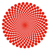 Red dot spiral abstract pattern circles over white background Stock Photography