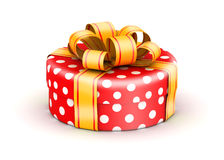 Red doted  gift box Royalty Free Stock Photo