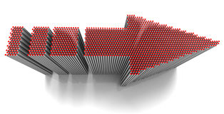 Red Dots Arrow. 3D rendered red arrow composed of doted cylinders in diminishing perspective, metaphor for synergy Royalty Free Stock Photo