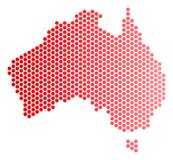 Red Dot Australia Map. Red dotted Australia map. Geographic scheme in red color with horizontal gradient. Vector concept of Australia map composed of round blot Royalty Free Stock Photos