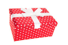 Red dotted gift Royalty Free Stock Image