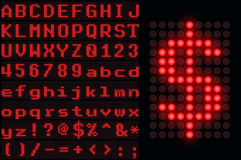 Red dotted LED display letter set Stock Image