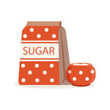 Red dotted pack of sugar and sugar bowl vector Illustration Stock Photos