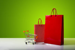 Red and dotted shopping bag. Royalty Free Stock Images