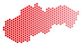 Red Dotted Slovakia Map. Red round spot Slovakia map. Geographic plan in red color with horizontal gradient. Vector concept of Slovakia map created of sphere royalty free illustration