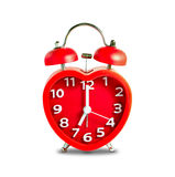 Red double bell alarm clock Stock Images