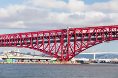 Red double-deck cantilever truss bridge Stock Images