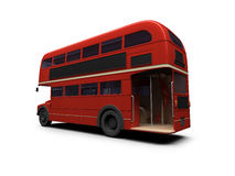 Red double decker autobus over white. Isolated red autobus on white background Royalty Free Stock Photo