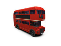 Red double decker autobus over white. Isolated red autobus on white background Royalty Free Stock Photos