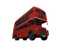 Red double decker autobus over white. Isolated red autobus on white background Stock Image