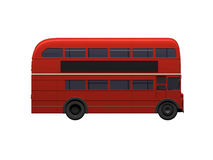 Red double decker autobus over white. Isolated red autobus on white background Stock Images