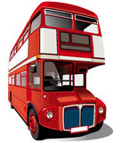 Red double-decker bus. Detailed ial image of symbol of London - best-known of England double-decker bus - Routemaster, isolated on white background. Contains Royalty Free Stock Photo