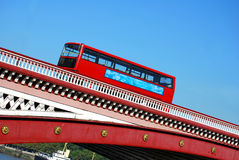 Red double decker bus on Blackfriars bridge in London Royalty Free Stock Images