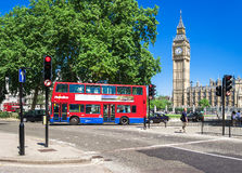 Red Double-decker bus in front of Big Ben. London, UK Royalty Free Stock Photography