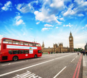Red Double Decker Bus in the heart of London. Westminster Bridge.  Stock Image