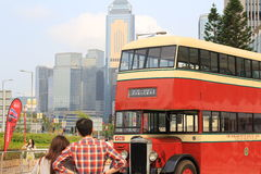 Red double decker bus. The red double decker bus at hong kong Royalty Free Stock Image
