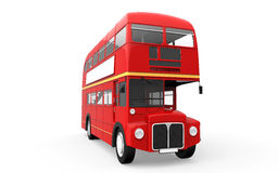 Red Double Decker Bus Isolated on White Background. 3d render Stock Photography