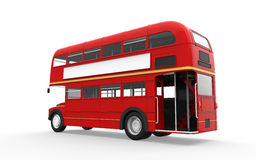 Red Double Decker Bus Isolated on White Background. 3d render Royalty Free Stock Photo