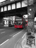 Red double decker bus, London stock image
