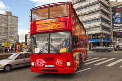 Red double-decker bus in Moscow Stock Photos