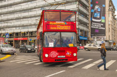 Red double-decker bus in Moscow Stock Photography