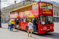Red double-decker bus in Moscow center Stock Photos