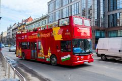 Red double decker bus Stock Images
