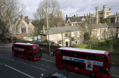 Red double decker buses london palace Royalty Free Stock Photo