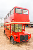 Red double decker London bus's body Stock Photo