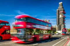 Red double decker in London Royalty Free Stock Photos