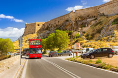 Red double-Decker sightseeing bus, Rethymno, Crete Royalty Free Stock Photos