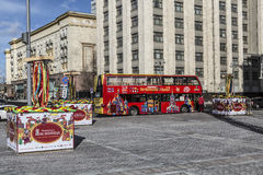 Red double-decker tourist bus on a Manezhnaya Square, Moscow. Russia Stock Photo