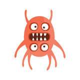 Red Double Faces Aggressive Malignant Bacteria Monster With Sharp Teeth Cartoon Vector Illustration. Colorful Alien Virus Microorganism Unfriendly Character Royalty Free Stock Photo