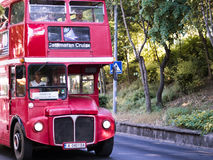 Red doubledecker bus. Red bus going fast through the streets Stock Images