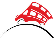 Red doubledecker rides along globe. On white background in vector Stock Photography