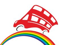 Red doubledecker rides by rainbow. On white background in vector Royalty Free Stock Photography