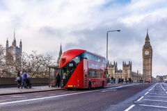 Red doubledecker on Westminster bridge. In the morning, London Royalty Free Stock Images