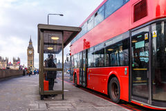 Red doubledecker on Westminster bridge. In the morning, London Royalty Free Stock Photos