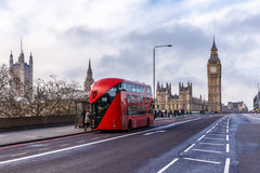 Red doubledecker on Westminster bridge. In the morning, London Stock Photography