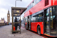 Red doubledecker on Westminster bridge. In the morning, London Royalty Free Stock Image