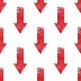 Red down arrow pattern. Vector red down arrow repeated on white background Stock Photo