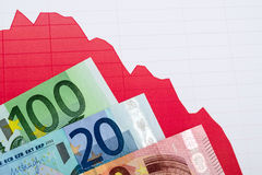 Red down trend graph  and banknotes on workplace Stock Photos
