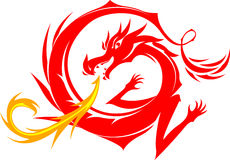 Red Dragon. Illustration for icon or logo design element Stock Images
