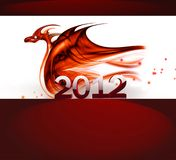 Red dragon. Abstract fire dragon on a white background as a symbol of 2012 Stock Illustration