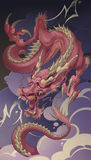 Red dragon. Dragon red clouds illustration flash Royalty Free Stock Image