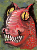 Red dragon. Artistic painting of scary dragon's head Royalty Free Stock Photography